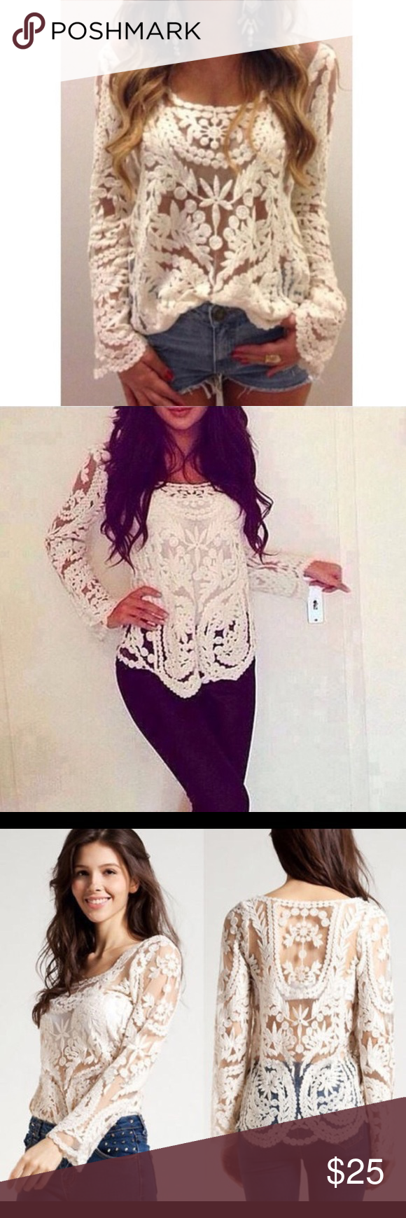 Creme Lace Long Sleeve Top Gently worn ; sofa Tops Blouses