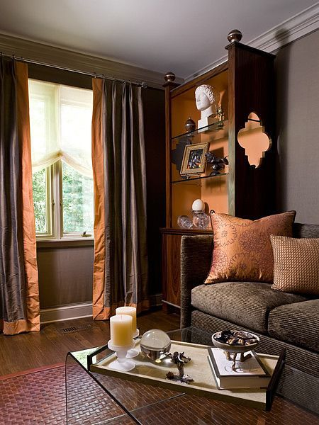 Shades Of Browns And Oranges In The Living Room Brown Living