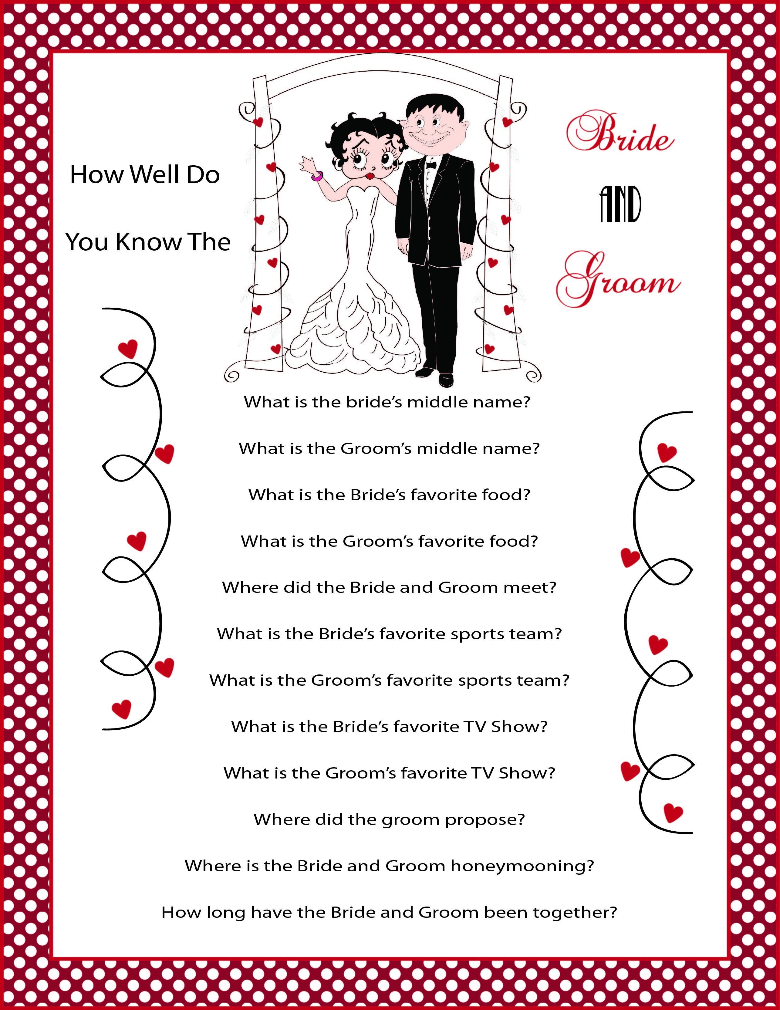 Betty boop and her man fun bridal or wedding shower game wedding