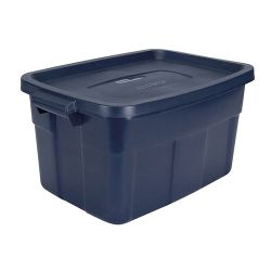 14 Gallon Dark Indigo Rubbermaid Roughneck 24 H X 16 W X 12 1 2 H With Images Storage Bins With Lids Rubbermaid Storage Rubbermaid