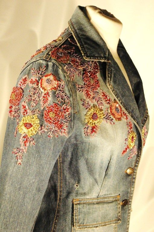 Image result for jean jacket embroidery