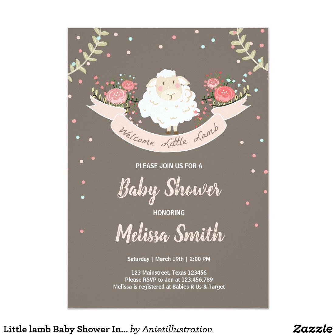 Little lamb Baby Shower Invitation Pink Spring | Baby Shower - Aniet ...