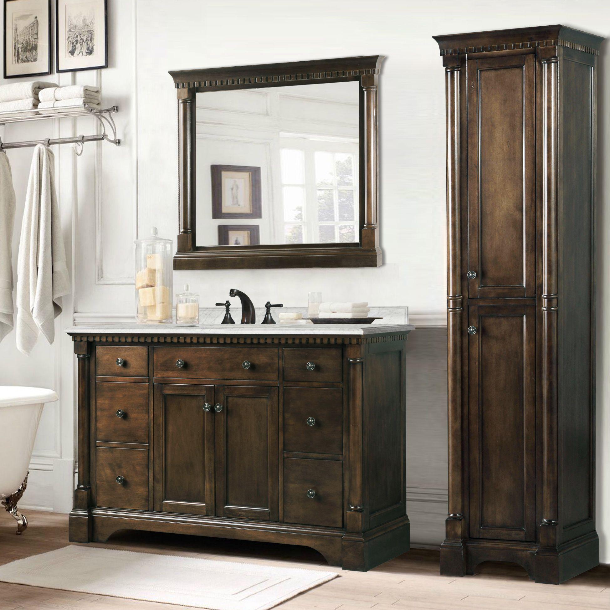 Legion furniture carrara white marble top 36 inch bathroom vanity coffee bean 3 piece set