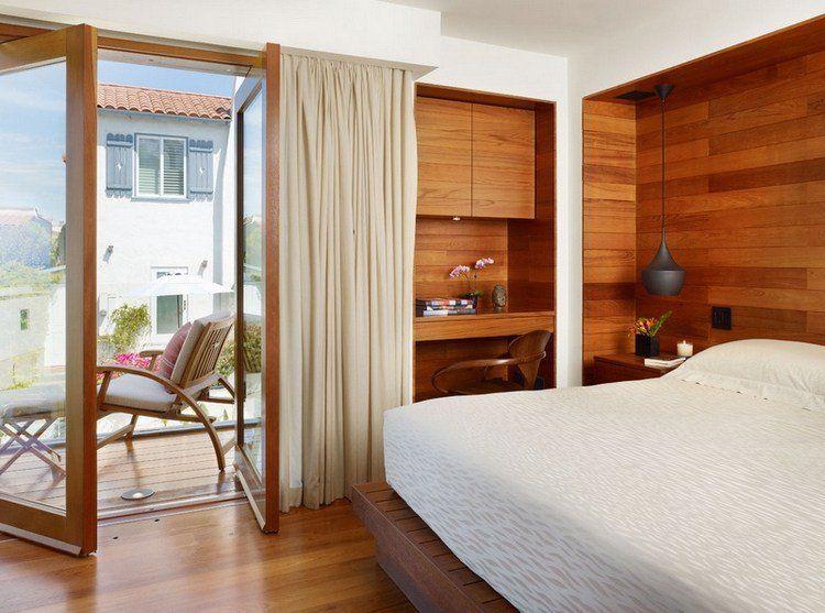 lambris mural en bois dans la chambre en 27 bonnes id es lambris mural lambris et chaleureuse. Black Bedroom Furniture Sets. Home Design Ideas