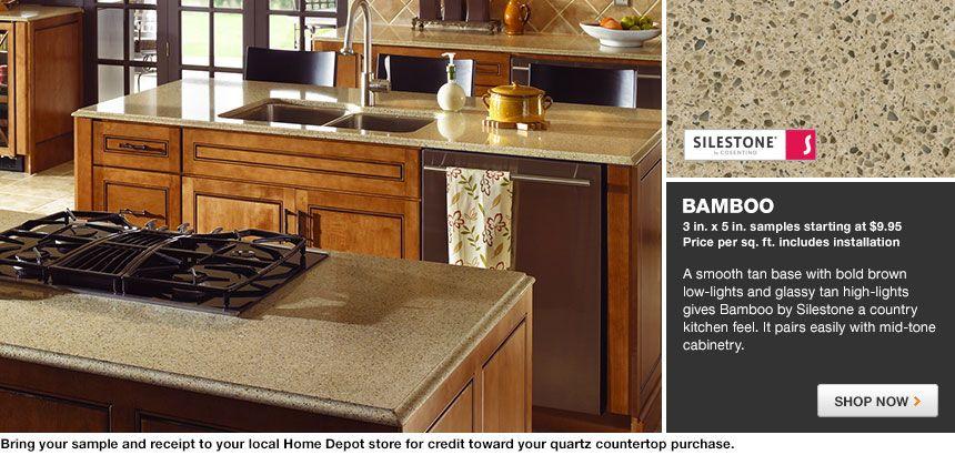 Home Depot Kitchen Countertops Quartz | Silestone Quartz Countertop In  Bamboo