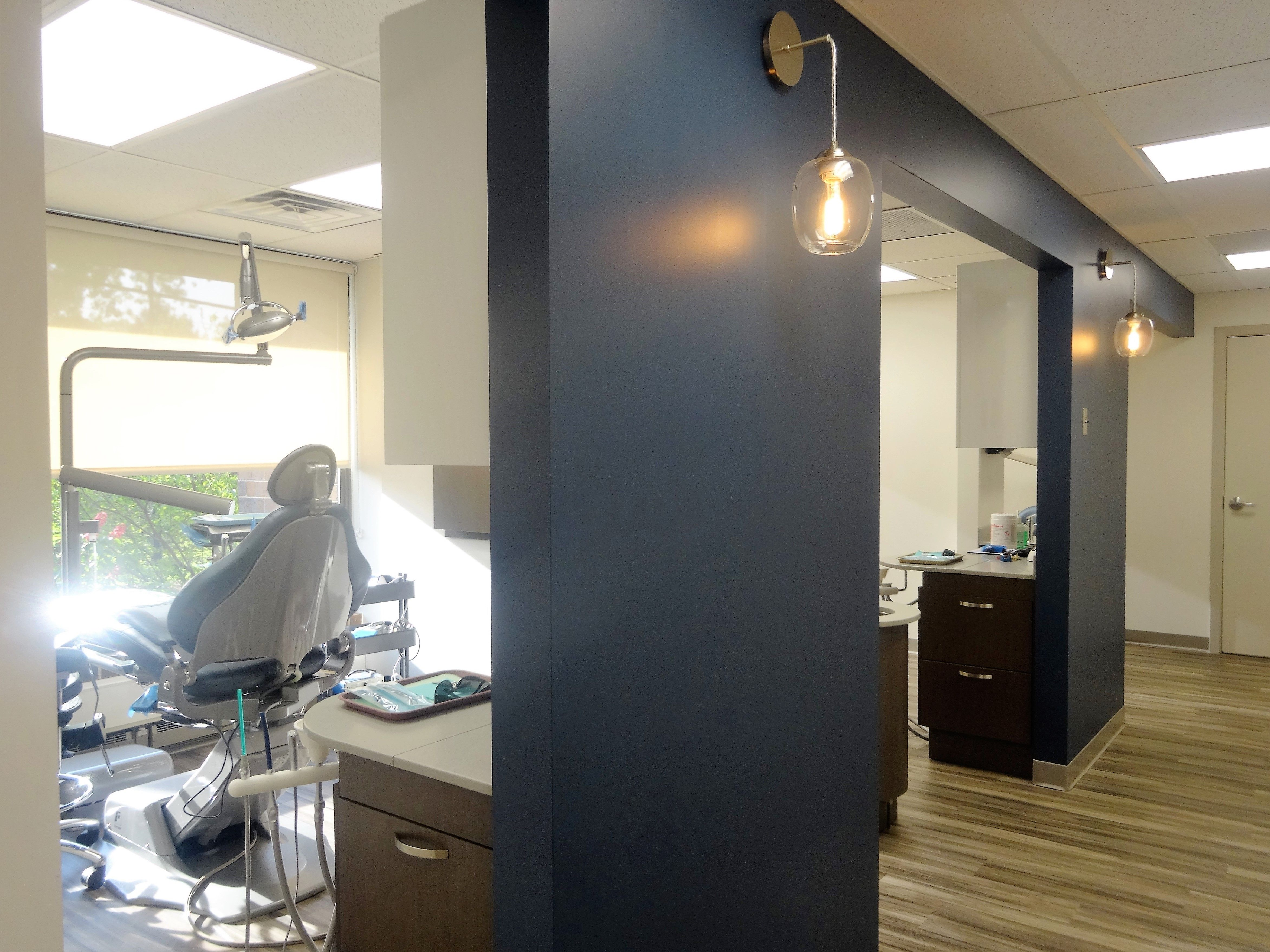 Dental studio designed by Apex Team for Kampfer Dental Studio. It includes  Design and Construction of a new 1,100 sq. ft. 4-Operatory dental offic