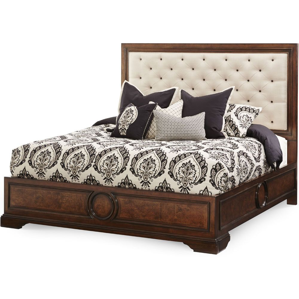 AICO Bella Cera California King Panel Bed with Fabric Tufted ...