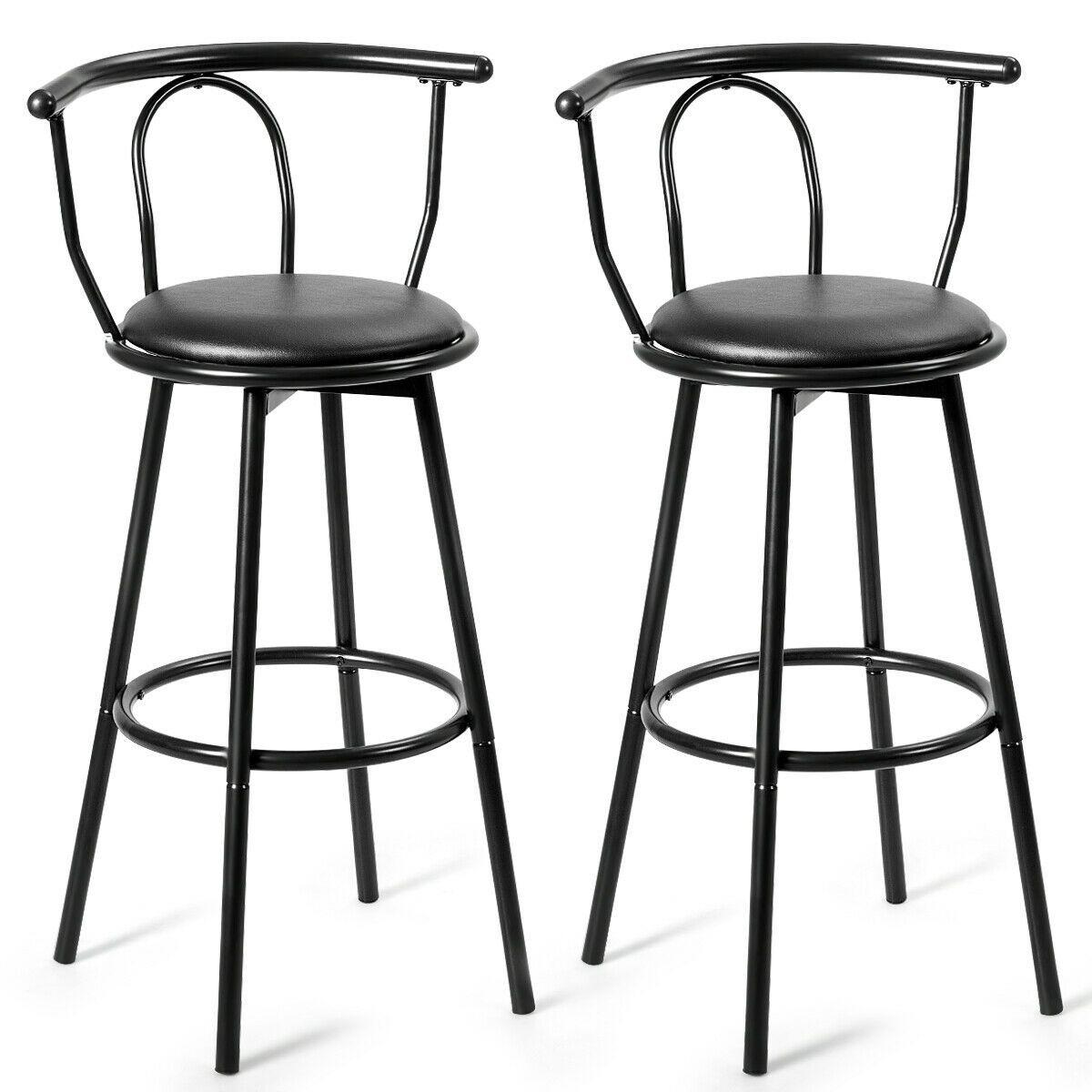 Set Of 2 Swivel Seat Metal Frame Bar Stools With Footrest In 2020 Metal Bar Stools Bar Stools Stainless Steel Bar Stools