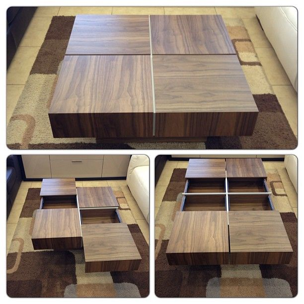 Square Coffee Table with 4 Drawers for storage in Walnut