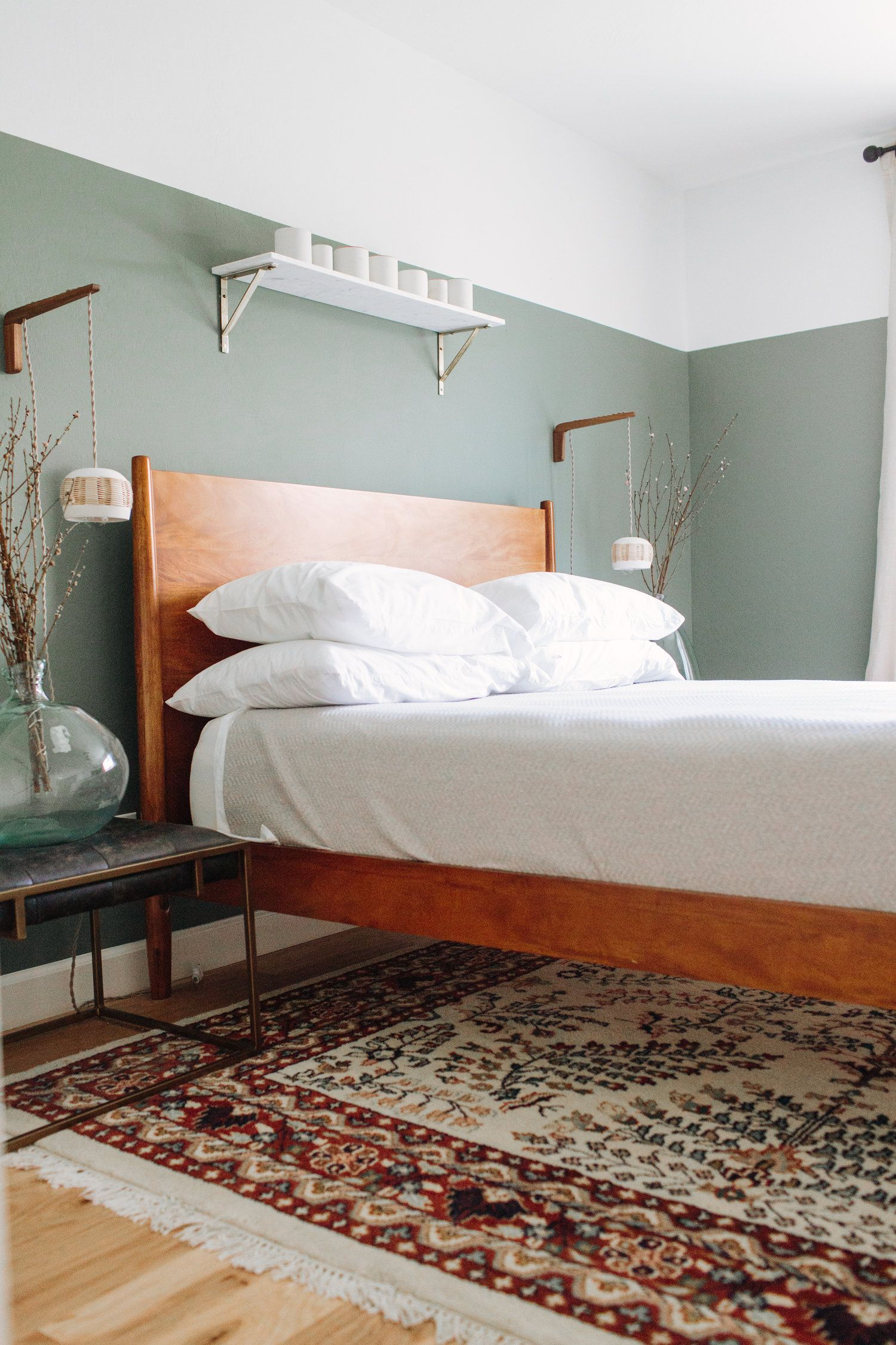 Modern Bed Traditional Rug Modern Lights And Sage Green Paint Home Decor Bedroom Eclectic Bedroom Home Decor
