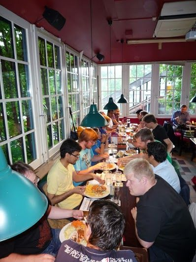 Starting into the hackfest with a good dinner - Lanedo sponsored #LibreOffice Hackfest 2013.
