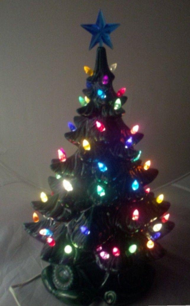 MULTI COLORED CERAMIC CHRISTMAS TREES | Multi Colored Lights, Blue Star,  Stunning!