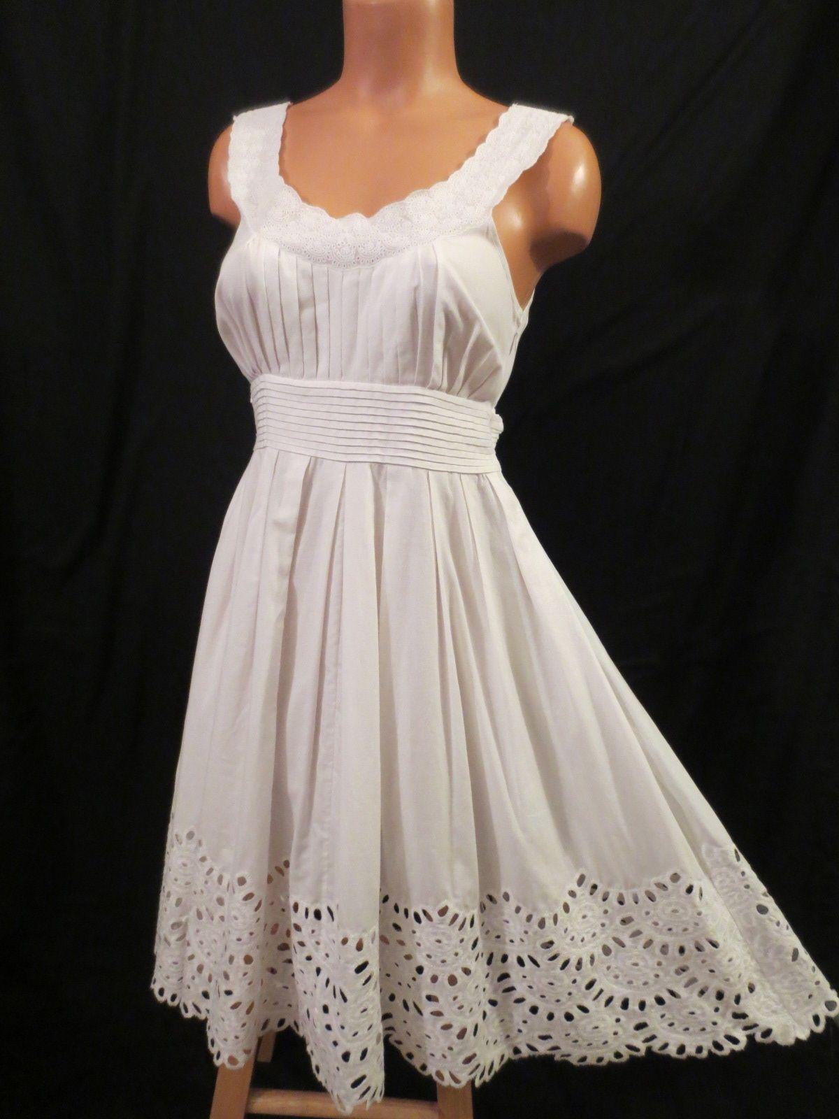 Catherine malandrino white cotton summer dress
