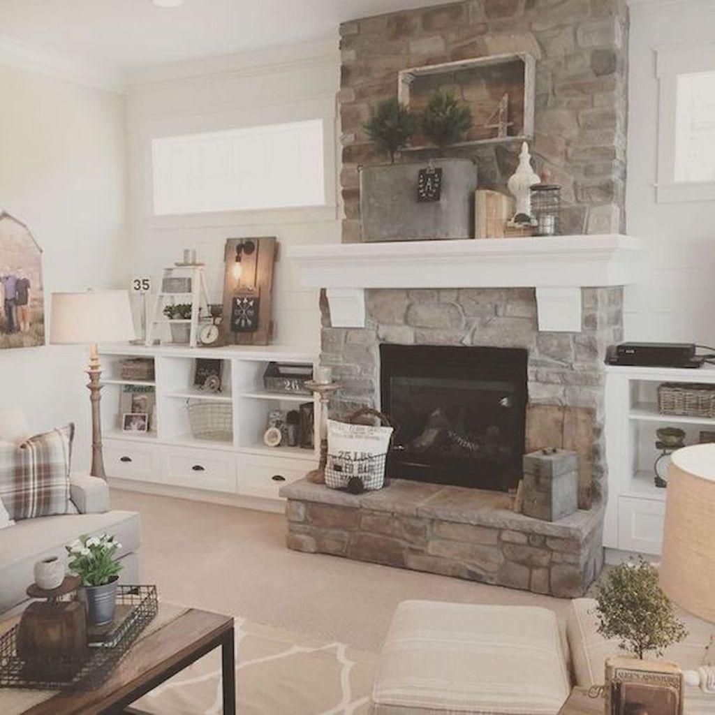 40 Best Modern Farmhouse Fireplace Mantel Decor Ideas (28