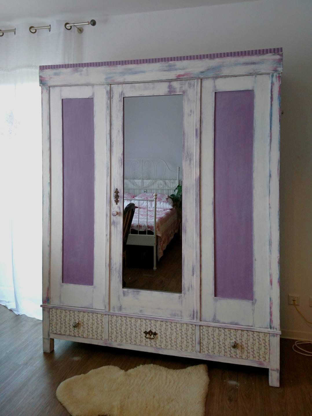Antique Wardrobe With Mirror Shabby Chic Vintage Wardrobe In