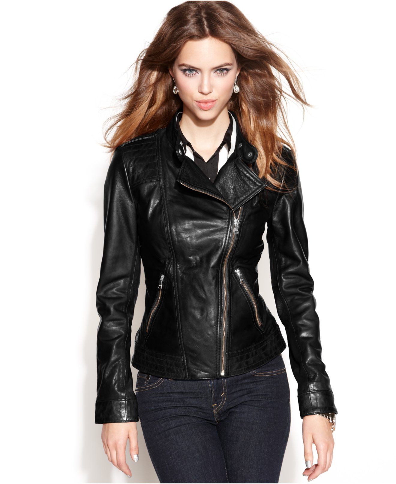 655238bf3bbe6 GUESS Asymmetrical Zip-Front Leather Jacket - Jackets   Blazers - Women -  Macy s  226.99