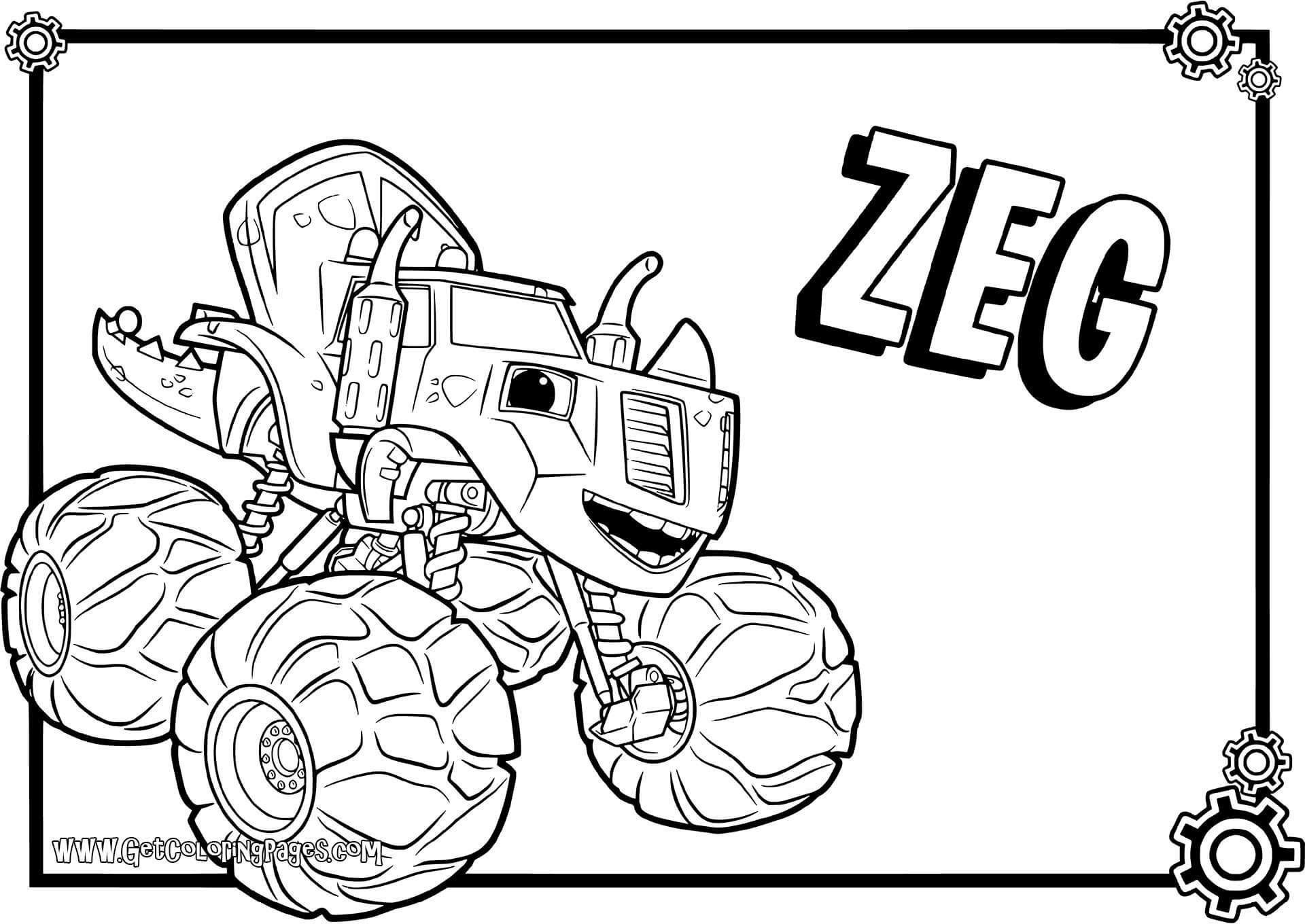 Blaze And The Monster Machines Coloring Pages Lovely Crusher