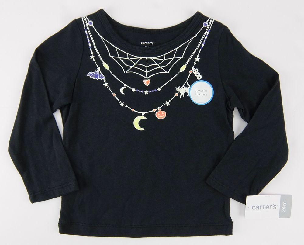 eef83df5 Carters Girls Black Halloween Tee Shirt Glow in The Dark Necklace Graphic  2T 3T #Carters #HalloweenEverydayHoliday