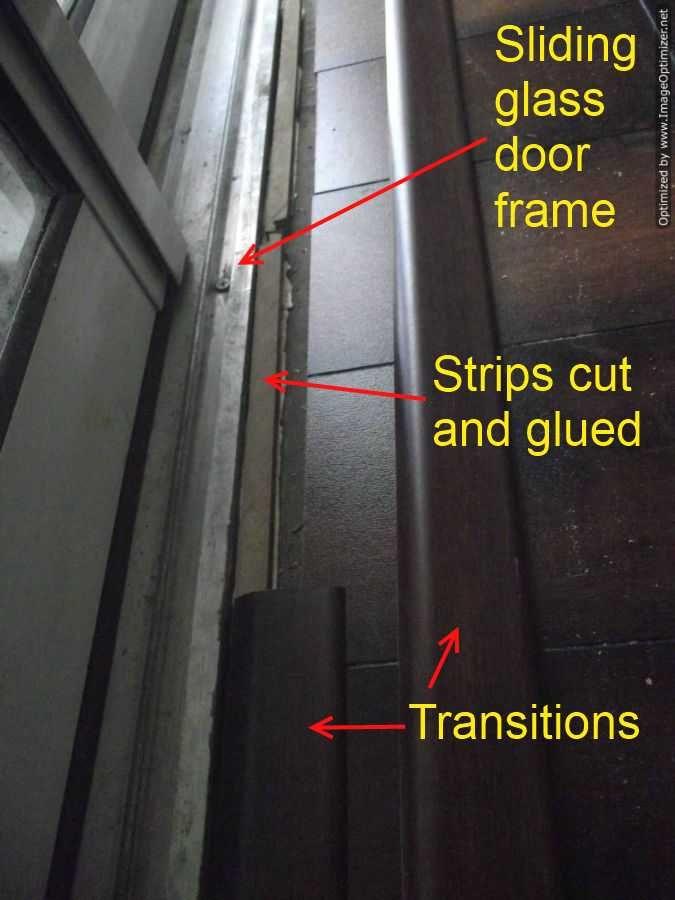 Laminate Transitions At Sliding Doors Sliding Glass Door Installing Laminate Flooring Floor Makeover