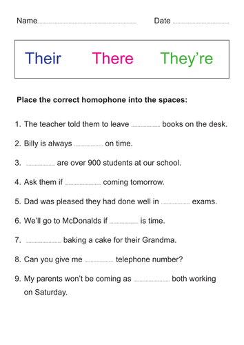 There, Their, or They're? | Grade spelling, Vocabulary worksheets ...