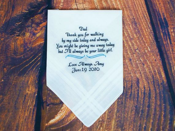 Make your wedding that much more special with personalized wedding handkerchiefs! These make wonderful gifts for the Mother & Father of the Bride &