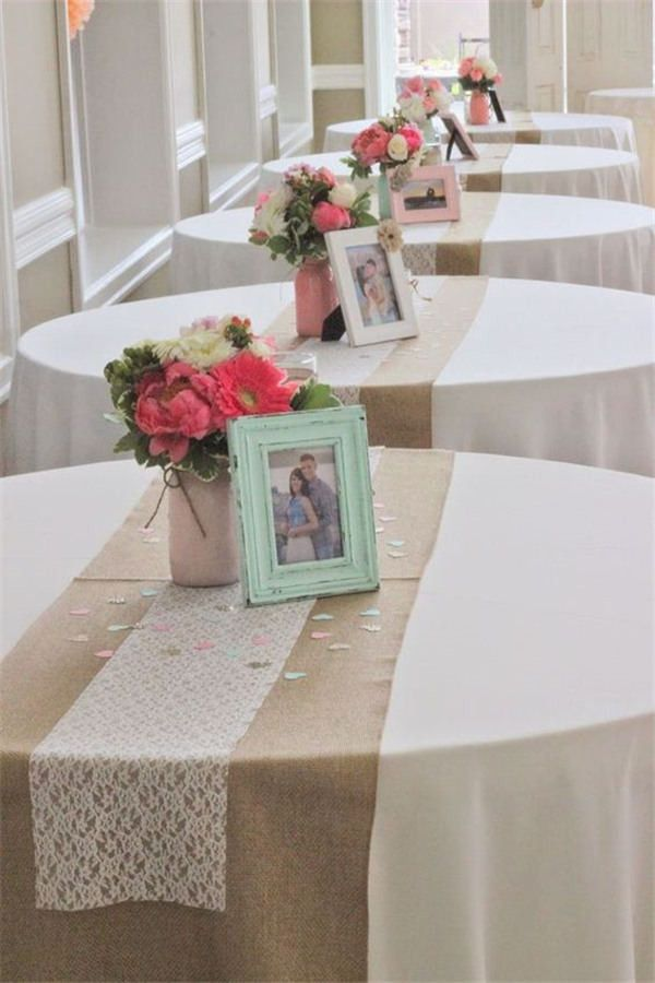 Coral + Mint Wedding Centerpieces with rustic wedding table runner
