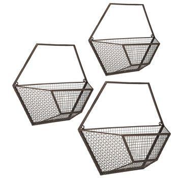 Hexagon Wall Basket Set Baskets On Wall Wire Wall Basket Hexagon Wall Shelf