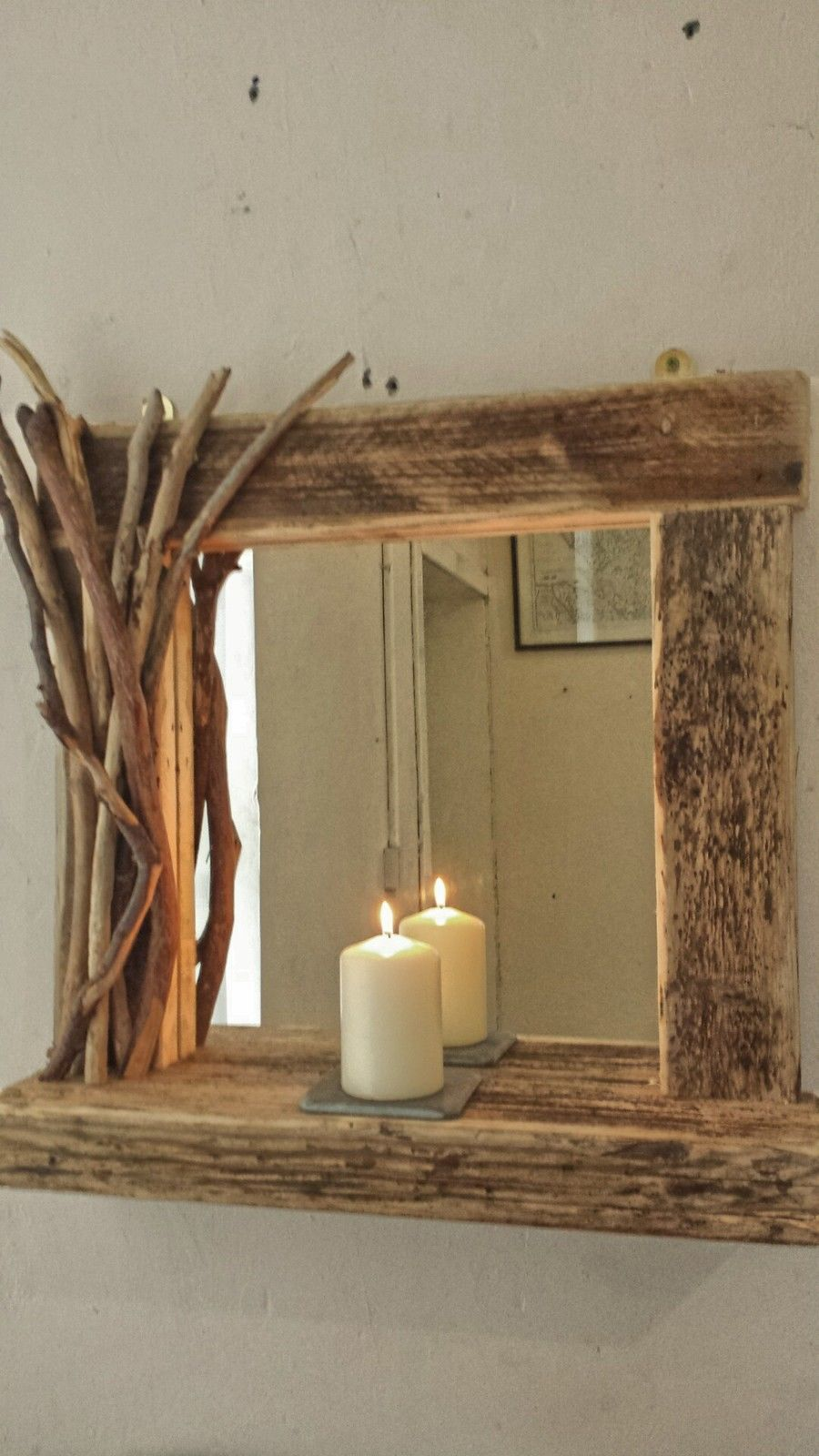 Rustic reclaimed driftwood farmhouse mirror with shelf and