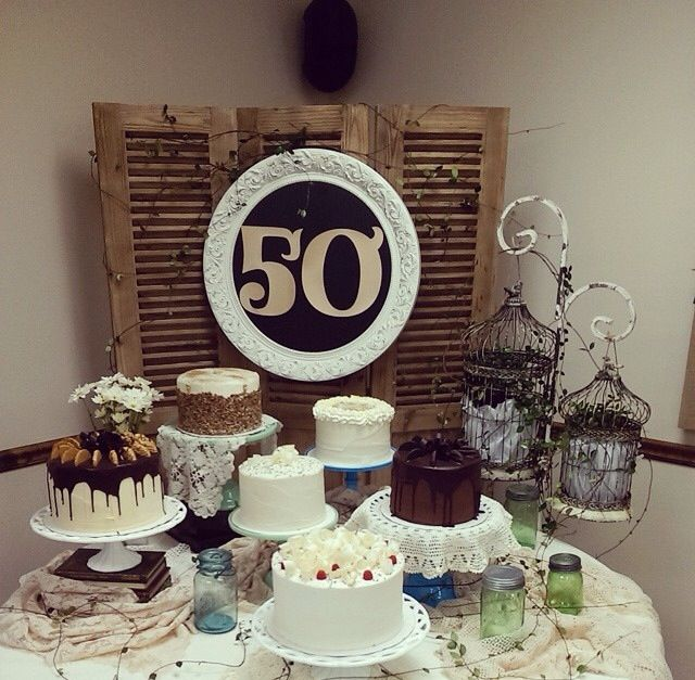 Wedding Cookie Display Ideas: 50th Wedding Anniversary Cake Table Display