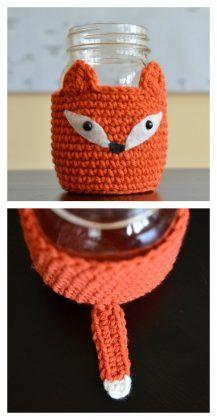 Crochet Fox Mason Jar Cosy Free Pattern