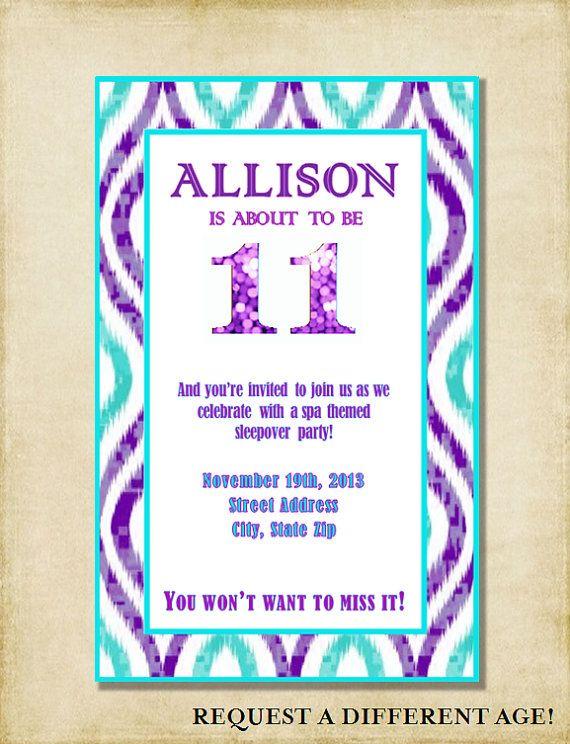 girl 11th birthday party invitation purple aqua by