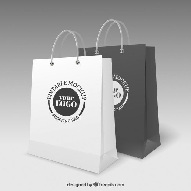 Download Shopping Bags Mockup Bag Mockup Vector Free Shop Logo Design