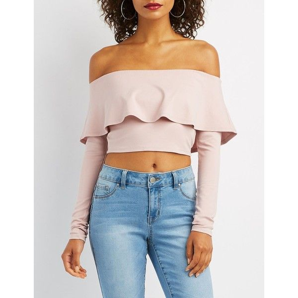 c53548ea280 Charlotte Russe Ruffle-Trim Off-The-Shoulder Top ($20) ❤ liked on Polyvore  featuring tops, blouses, lilac, off-shoulder ruffle tops, pink ruffle blouse,  ...