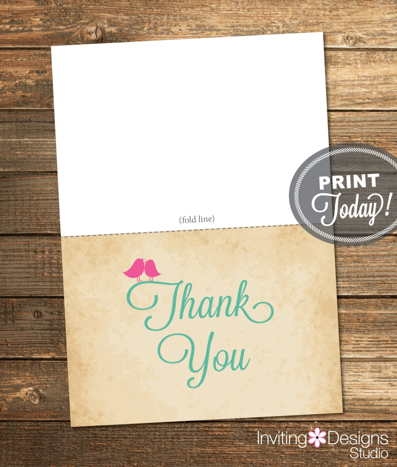 Thank You Card, Bridal Shower, Love, Birds, Heart, Pink, Mint, Mint Green, Rustic, Printable File (Custom order, INSTANT DOWNLOAD) by InvitingDesignStudio on Etsy