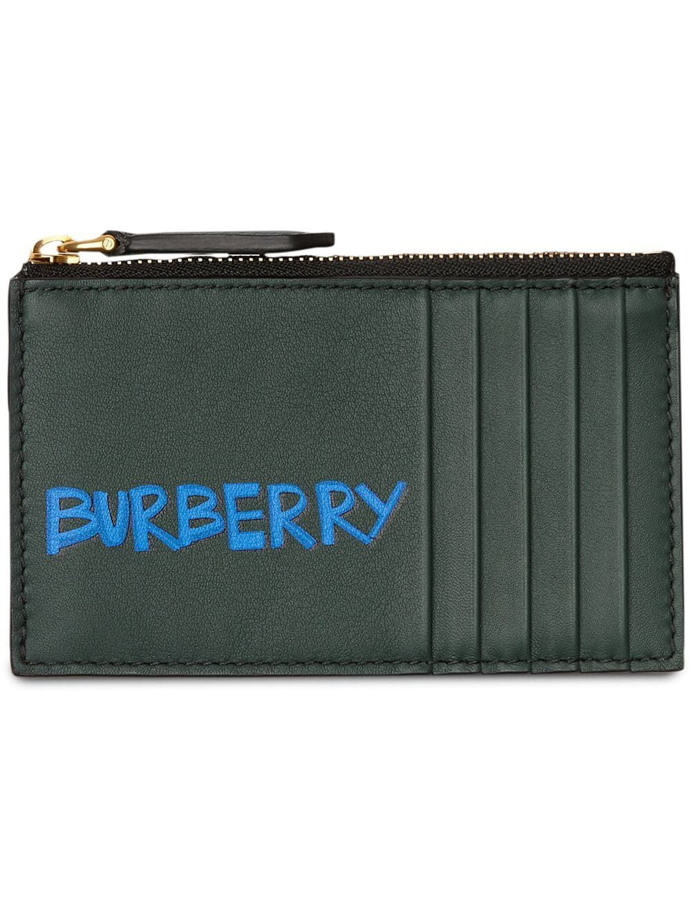 finest selection ba84f cc6b7 BURBERRY BURBERRY GRAFFITI PRINT LEATHER ZIP CARD CASE - GREEN ...