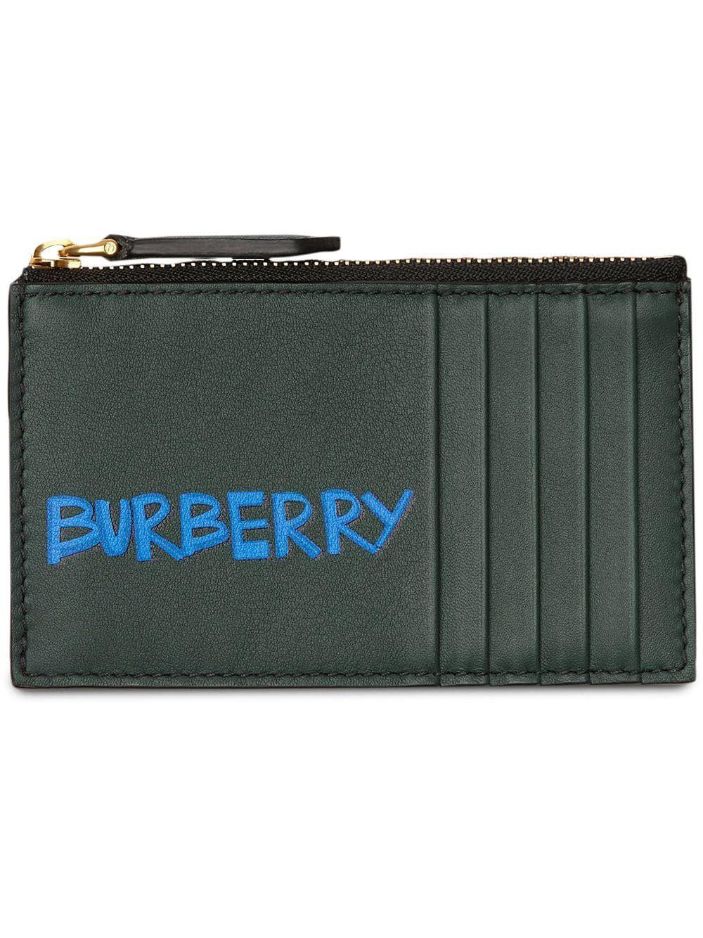 finest selection 87d6e dc6e5 BURBERRY BURBERRY GRAFFITI PRINT LEATHER ZIP CARD CASE - GREEN ...