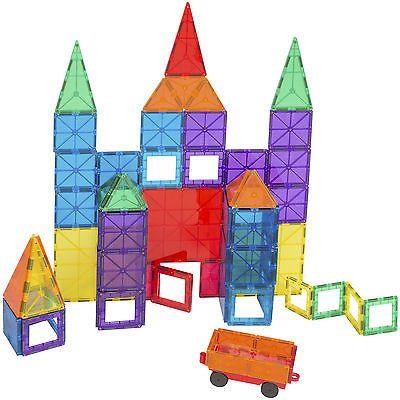 Bcp 100 Piece Clear Multi Colors Magnetic Tiles Building Set Car Magnetic Tiles