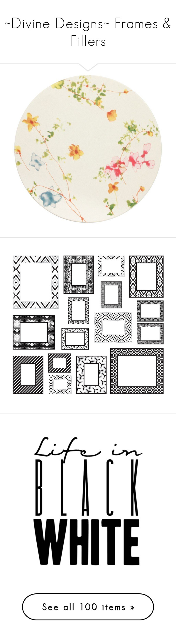 """""""~Divine Designs~ Frames & Fillers"""" by creations-by-lynn ❤ liked on Polyvore featuring home, kitchen & dining, backgrounds, circles, fillers, decoration, pictures, text, patterns and circular"""