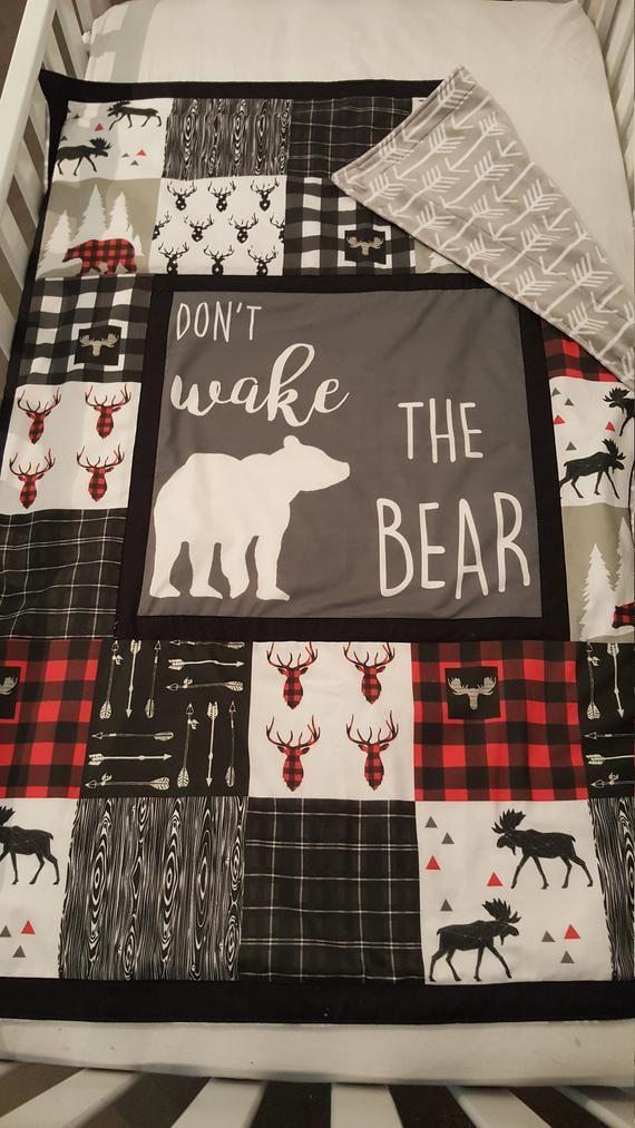 Lumberjack Baby boy Nursery bedding, moose, deer, bear, arrow, buffalo plaid, Dont Wake the Bear, mountain, quilt with minky back #babyboyblankets