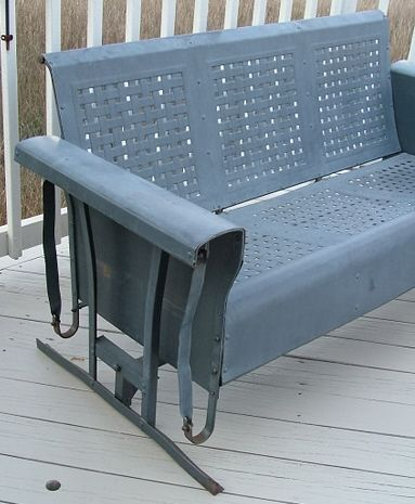 Vintage Metal Rockers Three Seat Porch Glider And Two Chairs Basketweave