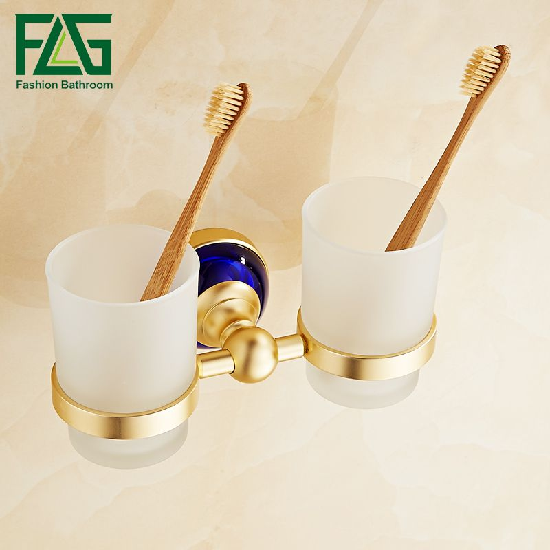 FLG Tumbler Holders Double Glass Cup Holder Wall Mounted Tooth - Bathroom cup holders wall mount for bathroom decor ideas