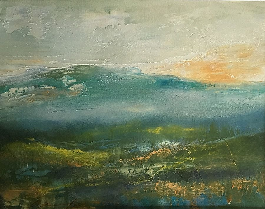 Green mountain by karen weihs oil 8 x 10 abstract