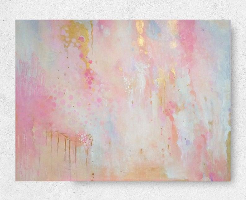 Blush And Gold Abstract Canvas Art Original Painting Pink Etsy Gold Abstract Painting Pink Abstract Painting Abstract Painting