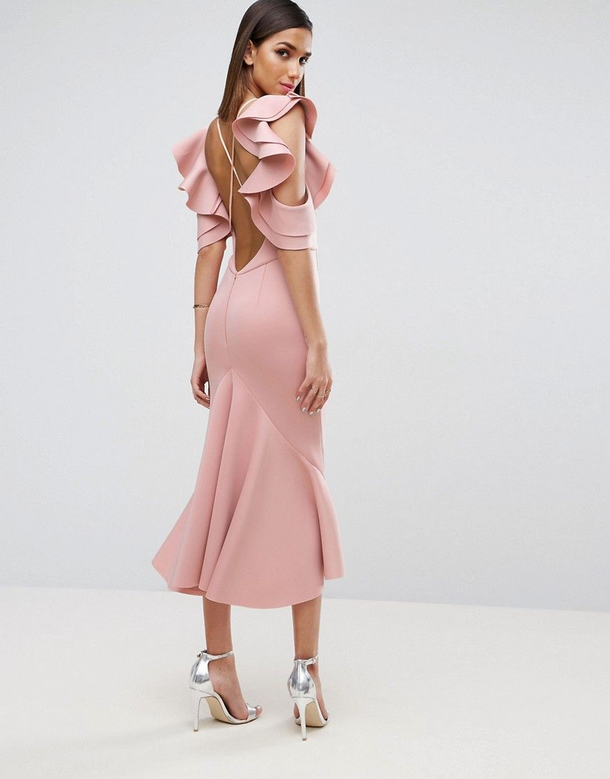 ASOS PREMIUM Scuba Extreme Pephem Midi Dress - Pink | Pinterest ...