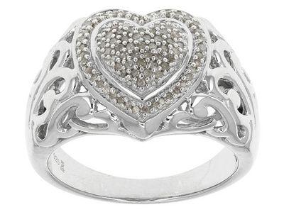 Jtv Diamond Rings >> 20ctw Round White Diamond Rhodium Over Sterling Silver Ring
