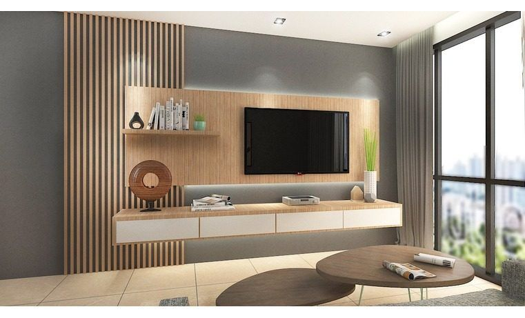 Suspended TV Cabinet Designs With Timber Feature Wall. Order This TV  Console At Recommend.my