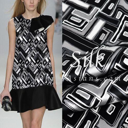 tissu annees 70 en noir et blanc. 108cm de large. 19momme. SSD100992 : Tissus Habillement, Déco par fabricasians