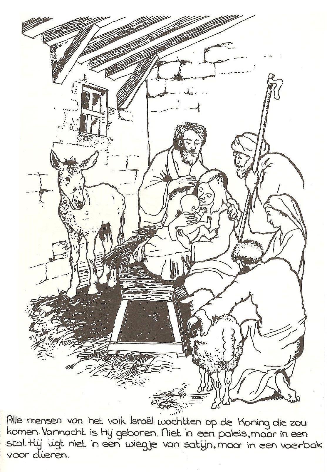 jezus in de kribbe kerst kleurplaten bijbel kleurplaten