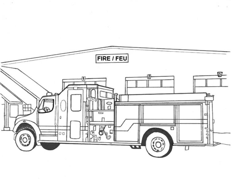 Realistic And Detailed Fire Truck Coloring Image For Older Kids