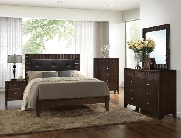 dark finish wood tufted bonded leather queen bedroom set bedroom